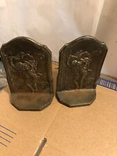 "Vintage Connecticut Foundry ""The Storm"" Cast Iron Brass Book Ends C1928 Pair"