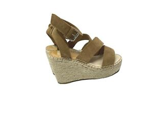 Marc Fisher Womens 7.5 Brown Shayla Espadrilles Wedges Suede Leather Ankle Strap