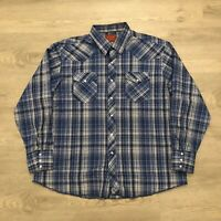 Rustler Blue Plaid Pearl Snap Button Western Shirt Long Sleeve Mens 2XL