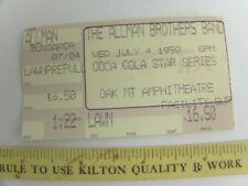 The Allman Brothers Band Concert Ticket Stub July 4 1990 Birmingham Al Oak Mt.