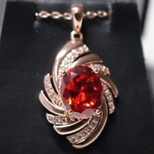 Vintage Antique Oval Red Ruby Pendant Necklace Women Wedding Jewelry Gift Box