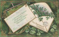 Vintage Postcard St. Patrick's Day The Shamrock Forever 1914 Gold Trim Embossed