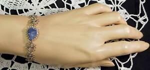 Lovely Hand Made Wire Wrap Bracelet with Blue Sodalite Teardrop Stone