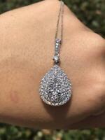 Pendant Necklace 1.00 Carat Round Cut  Diamond  14K White Gold Finish
