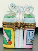 Limoges France Peint A La Main Birthday Gift & Bow Figure Porcelain Trinket Box
