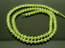 "Green Peridot Gemstone Fancy Specialty Cut 4mm Bicone Shape Bead Strand 14"""