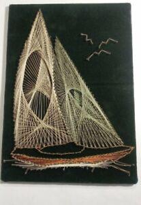 Vintage Mid Century Modern Nail & String Art SAILBOAT sailing ship