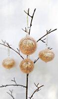 4 NWT BLOWN GLASS GOLD CONFETTI SPARKLE BALLS CHRISTMAS TREE ORNAMENTS WHOLESALE