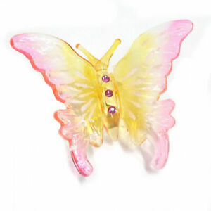 Glass Butterfly Figurine with Austrian Crystal Accents
