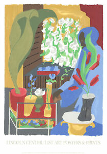 "JACOB LAWRENCE Floral Supermarket 36"" x 25"" Serigraph 1996 Cubism Multicolor,"