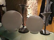 Ensemble 2 Suspensions Globe En Opaline Et Aluminium 1950's