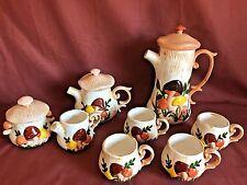 VTG. Set Hand Crafted 70's Mushroom Carafe Teapot Creamer Sugar Mugs Coffee Tea