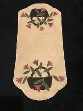 Primitive Wool Felt Penny Rug Candle Mat Runner Basket Pink Flowers Green Leaves