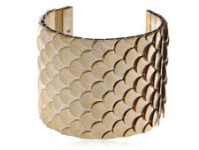 Fashion MEN Women Gold Tone Funny Egyptian Scale Skin Texture Cuff Bracelet