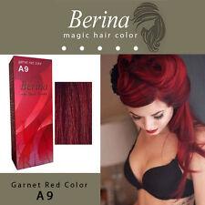 Berina Permanent Hair Dye Color Fashion Colour Cream A9 Garnet Red Color