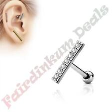 12 mm Cz Gem Lined Long Bar 316 Surgical Steel Silver Tragus/Cartilage Stud with
