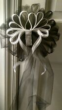 SALE 12pc Wedding White Black & BLING Pew Bows  ANY COLOR  RUSH ORDERS AVAIL