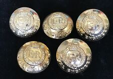 Royal Engineers Set of 5 Buttons 25mm dia, Queens Crown, BGBOX1