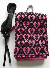 Mobile/MP3 pouch/coin purse.Lanyard/Belt loop Pink/Black Brocade.TRENDZ
