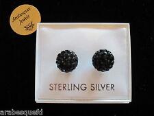 GENUINE STERLING SILVER/BLACK DIAMOND SWAROVSKI CRYSTAL SHAMBALLA EARRINGS au