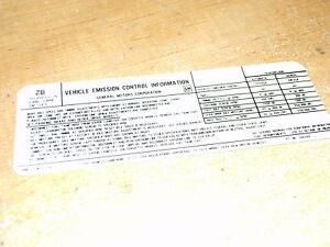 1974 CHEVROLET EL CAMINO IMPALA CAPRICE 350 4V/400 4V ENGINE EMISSIONS DECAL NEW