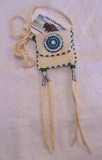 HAND MADE SMALL BEADED NECK POUCH RENDEZVOUS BLACK POWDER MOUNTAIN MAN 21