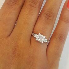 2.5 Ct 14K White Gold Princess Cut 3 Stone Engagement Wedding Promise Ring