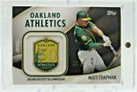 2020 Topps Series 2 Matt Chapman Jumbo Jersey Sleeve Patch Card Black 25/50