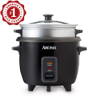 Aroma 6-Cup Rice Cooker And Food Steamer, Black photo
