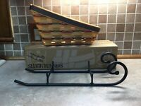 Longaberger Holiday Sleigh Basket, Metal Runners, protector  1997