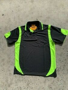 work shirt hi vis BLACK with yellow/green/lime trim cool S/S safety polo shirt