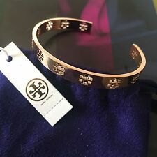 NWT Tory Burch Pierced T Cuff Bracelet Bangle Rose Gold with Pouch 30% OFF!