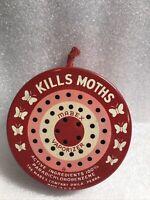 VTG KILLS MOTHS Mabex Vaporizer Round METAL Tin W/ATTACHED HANGER-EMPTY
