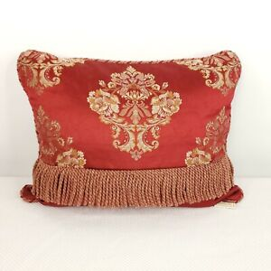 Waterford Charlement Red Burgundy Oblong Rectangular Decorative Bed Pillow