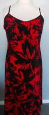 Ladies Maxi Dress Kaleidoscope Size 16 black red spaghetti strap neck sleeveless