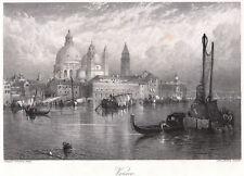 VENEDIG mit MARKUSDOM  schöne Ansicht über das Wasser Stahlstich 1880 ORIGINAL