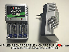4 PILES ACCUS RECHARGEABLE AAA LR03 1.2V 1000mAh Ni-Mh + CHARGEUR SOSHINE 2016