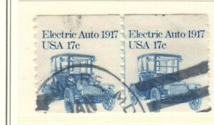 US EFO Scott #1906 17c Electric Auto Coil miscut Pair, coil number showing!