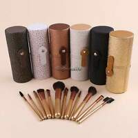 Pro Makeup Brush Set 12pcs Kit Leather Cup Holder Case Cosmetic Make Up Tool CaF