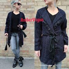 Zara Navy Black Tassels Fringed Geometric Print Belt Long Sleeve Jacket Size Xs