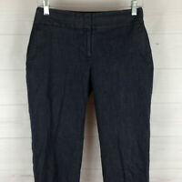 Ann Taylor LOFT Julie womens size 6 stretch navy blue flat front crop pants EUC