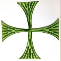 """Vintage Square Cross Embroidered Sew-on Green C 5""""1/2 Emblem Patch 2 Pcs"""