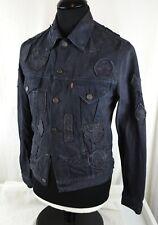 """Levi Strauss 72530 Denim Jacket Trucker 36"""" Vintage Patches Black Jean RARE"""