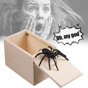 Wooden Prank Spider Scare Box Hidden in Case Trick Play Jokes Scare Box Gag Toys