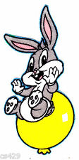 """4.5"""" Looney tunes baby bugs hands up balloon fabric applique iron on"""