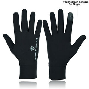 Touchscreen Ladies light weight Liner Thermal  Running gloves Black Size XS To L