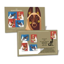 USPS New Military Working Dogs Stamped Pin Set of 4 with Cancellation Card