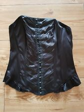 Black silk faux leather corset top wired New look size uk 10 goth gothic