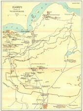 India. Alicante ruinas de Vijayanagar mostrando templos. kamalapuram 1924 Mapa Antiguo