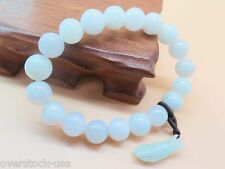 Natural Grade A Jade (Jadeite) 8mm Bead with Buddha Hand Bracelet Good Luck